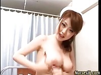 Kinky japanese nurse gets her huge tits covered in cum